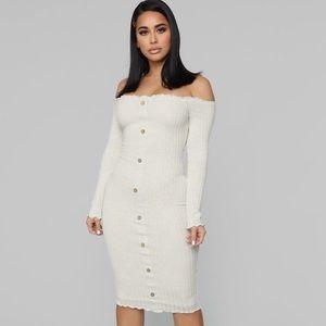 Fashion Nova Jacklyn Off Shoulder Midi Dress